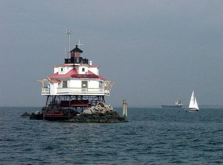 El far de la punta de Thomas a la badia de Chesapeake, Maryland, EUA.