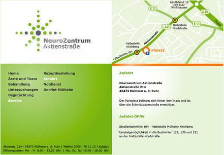 Screendesign NeuroZentrum Aktienstraße Drs. Milkereit