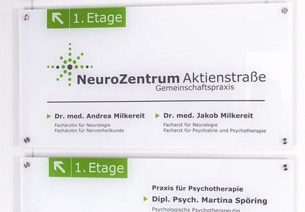 Praxisschilder NeuroZentrum Aktienstraße