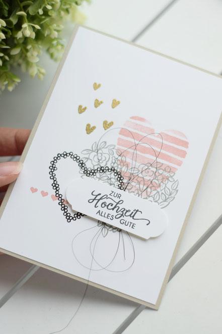 Stampin Up GrußkarteHochzeitskarte Papierwunder Basteln Hochzeit Hochzeitsgeschenk Geldgeschenk Heart Happiness Herzen Embossing
