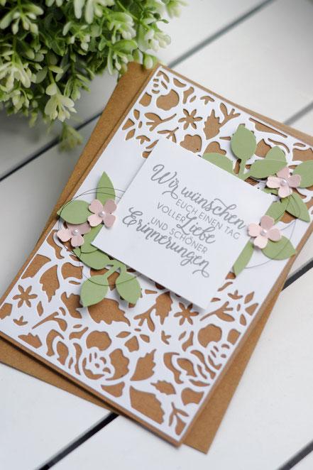 Stampin Up Papierwunder Florale Fantasie Hochzeit Hochzeitskarte Filigran Framelits Kraftpapier Kirschblüte Farngrün Stickmuster Blumen Blüten des Augenblicks