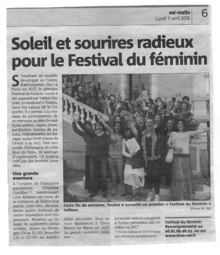 Festival du Féminin de Toulon - Article Var Matin