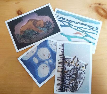 Cartes de souhaits illustrations Crystal Smith pour la Fondation David Suzuki