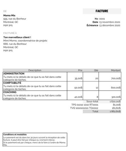 Modèle de facture gratuit dans Excel par Académie des autonomes en soutien aux travailleurs autonomes francophone du Québec