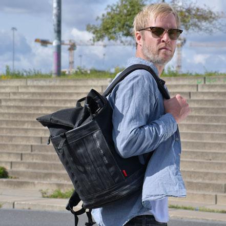 Rucksack Carringer aus Fahrradschlauch und Cordura von Stef Fauser Design Berlin