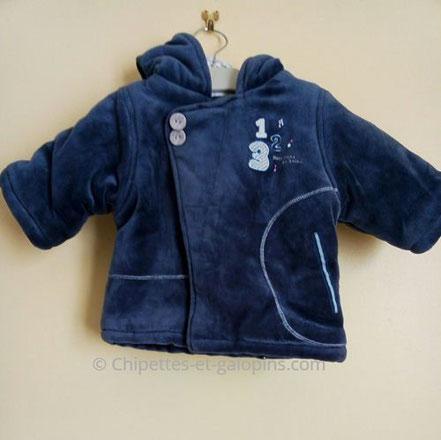 vetements bébé occasion. Manteau molletonné Absorba pas cher pour bébé de 3 mois