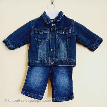 vetements occasion enfant. Veste et pantalon en jean pas cher pour bébé garçon 6 mois