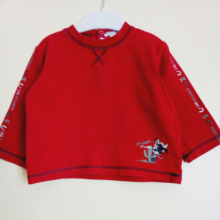 T-shirt à manches longues rouge kimbaloo 2 ans
