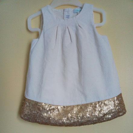 Robe velours blanc et sequins dorés 12 mois Obaïbi