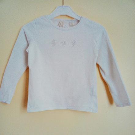 vetements enfants occasion. T-shirt à manches longues blanc Okaïdi fille 6 ans