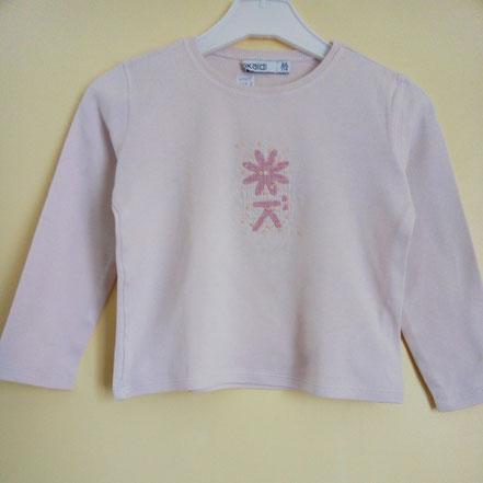 vetements enfants occasion.T-shirt manches longues rose pale Okaïdi 6 ans