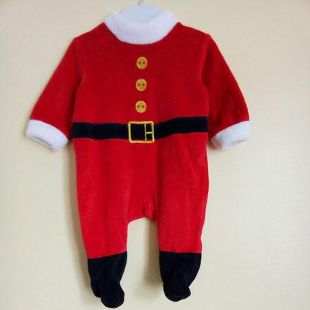 Pyjama Père Noël en velours 3 mois