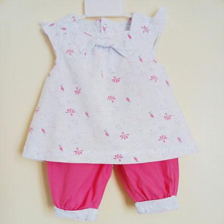 vetements occasion bébé. Ensemble blouse sans manches et pantalon toile fille 9 mois