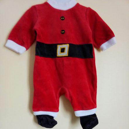 Pyjama Père Noël en velours 1 mois