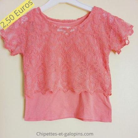 vetements occasion enfants. T-shirt pas cher 2 en 1 fille 6 ans H&M