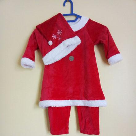 Pyjama Mère Noël en velours fille 18 mois