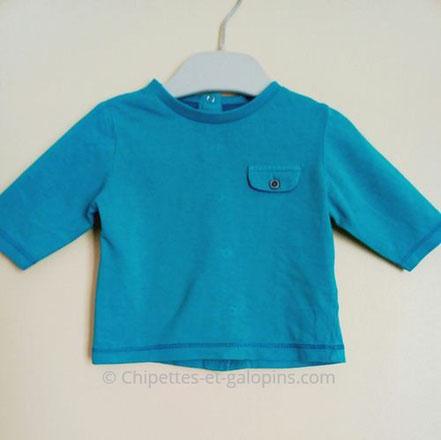 vetements occasion bébé. T-shirt à manches longues pas cher de couleur bleu canard pour bébé garçon de 1 mois