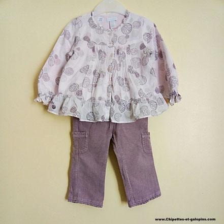 Pantalon et blouse Obaïbi fille 18 mois