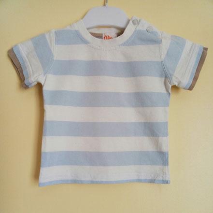 vetement bébé occasion. T-shirt rayé ciel et blanc bébé 12 mois