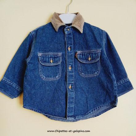 vetement bébé occasion. Chemise en jean Liberto bébé garçon 12 mois