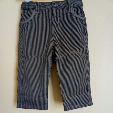 pantalon en twill rayé noir et vert olive garçon 3 mois Obaïbi
