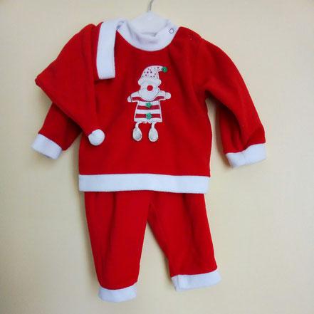 Pyjama Père Noël 2 pièces plus bonnet 12 mois
