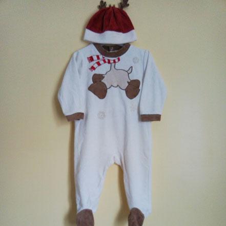 Pyjama en velours renne de Noël 12 mois