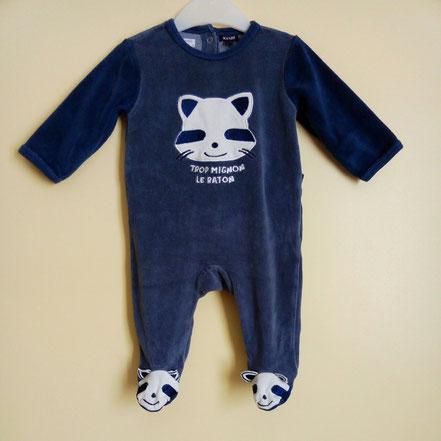 Pyjama pas cher en velours 6 mois kiabi