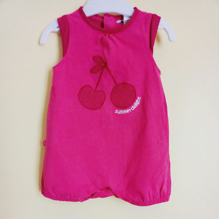 vêtements d'occasion pour bébés. Barboteuse rose Obaïbi 6 mois