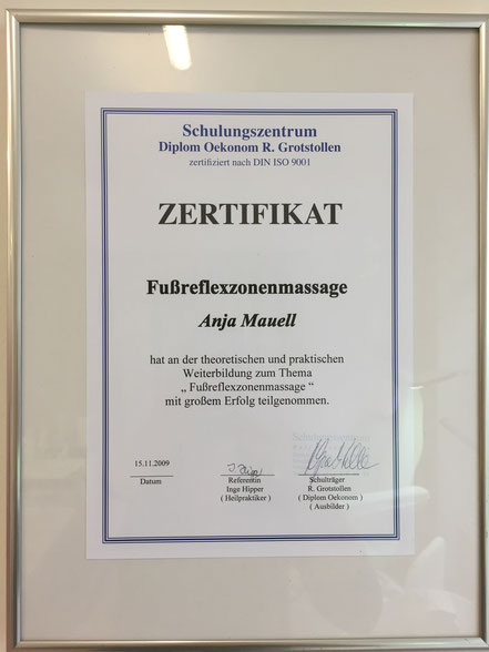 Zertifikat Fußreflexzonenmassage