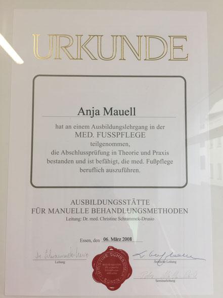 Zertifikat Anja Mauell medizinische Fußpflege