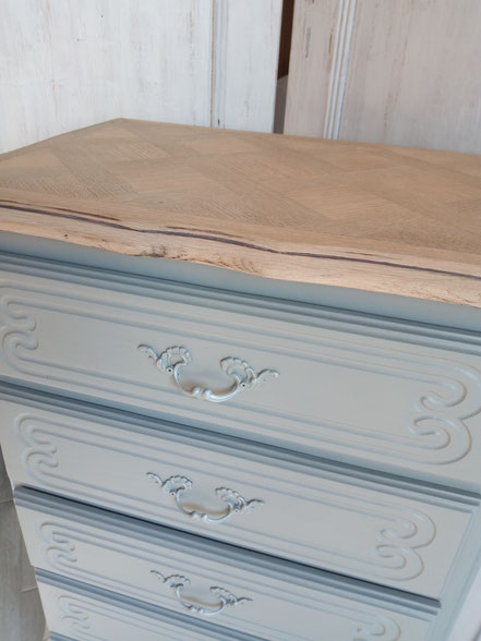 relooking de meubles chiffonnier gris et bois le mans sarthe m'elledecors