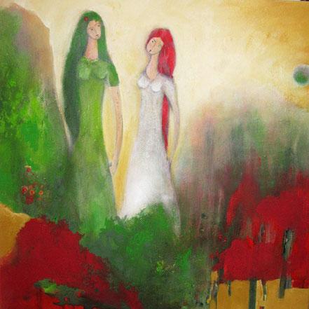 Grünweißchen und Rosenrot / Acryl auf Leinwand / 70 x 70 cm