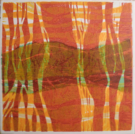 9 a - Spuren / Farbholzdruck auf Papier / 40 x 40 cm