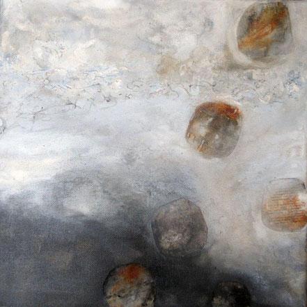 Versteckte Botschaften 2 / Mischtechnik auf Leinwand / 50 x 50 cm
