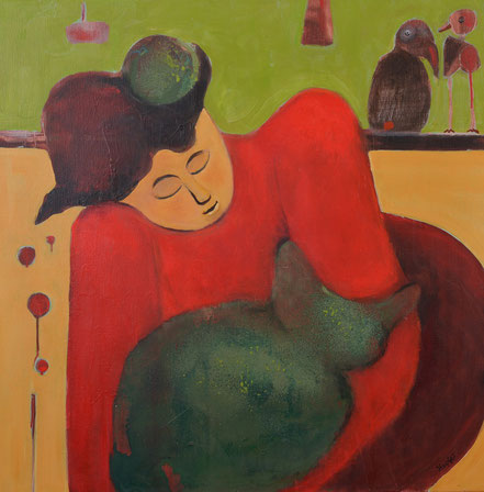 Grüne Katze / Acryl auf Leinwand / 80 x 80 cm