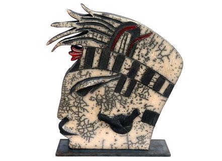 Maya IV | Keramik Raku Stahl | 39 x 34 x 4 cm