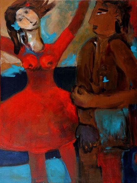 Ungleiches Paar / Acryl auf Leinwand / 80 x 60 cm