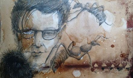 Ameisen im Kopf / Mischtechnik auf Papier / 30 x 40 cm o.R.