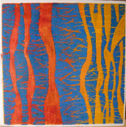 9 b - Spuren / Farbholzdruck auf Papier / 40 x 40 cm