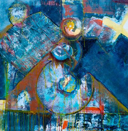 Halte die Zeit / Ölcollage auf Leinwand / 100 x 100 cm