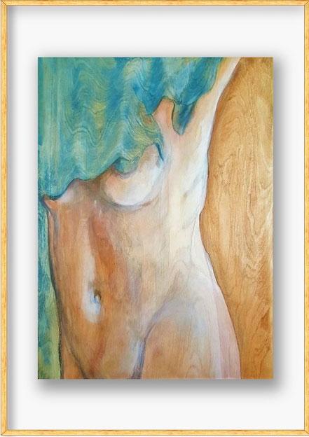 Das blaue Kleid | Buntstift u. Acryllasuren auf Birkensperrholz | 69 x 49 cm