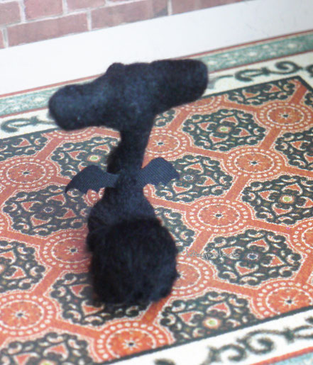 黒い管狐 ハロウィーン 羊毛フェルト