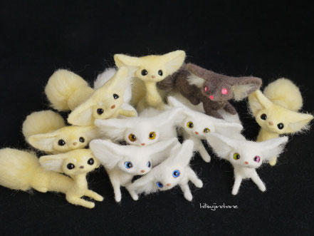 羊毛フェルト 管狐 もふもふを知らなかったら人生の半分は無駄にしていた もふもふしっぽのきつね達展2