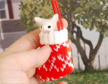クリスマス 豆狐 プレゼント 羊毛フェルト