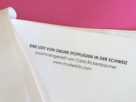 Online Stoffläden in der Schweiz - eine Liste
