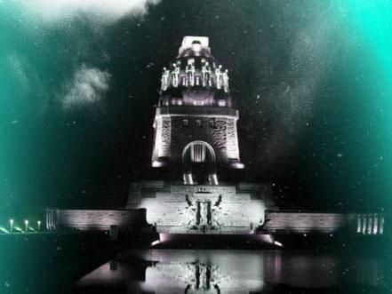 Völkerschlachtdenkmal in Leipzig bei Nacht