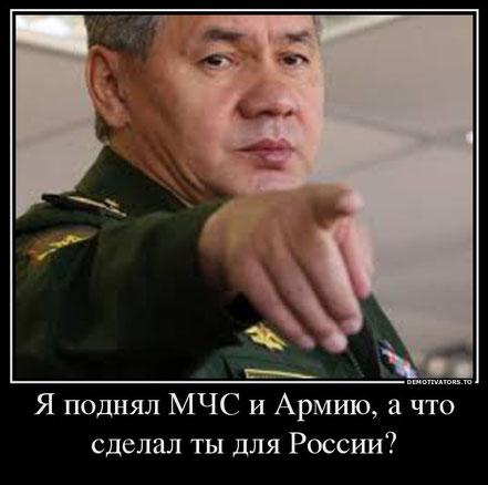 Я поднял МЧС и Армию, а что сделал ты для России