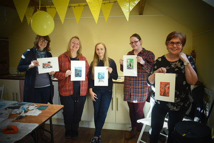 Group printmaking workshop at The Studios, New Mills