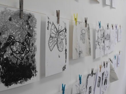 Drying prints at a printmaking workshop